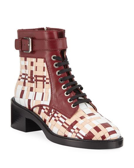 Laurence Dacade Solene Woven Leather Combat Booties