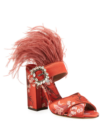 Tabitha Simmons REYNER JACQUARD SANDALS WITH FEATHERS