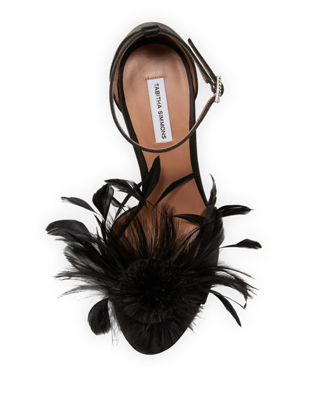 Avary Feather Satin Sandals
