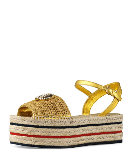 Gucci Layered Platform Metallic Espadrilles