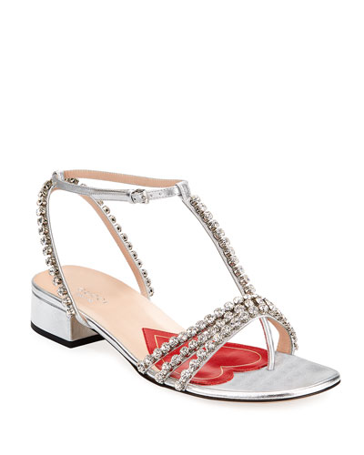 Bertie Crystal-Embellished Metallic Leather Sandals