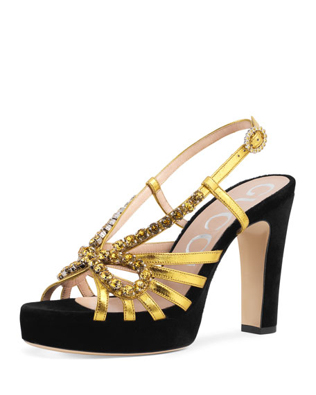 76a15e3981c7 Gucci Strappy 85mm Crystal Sandals