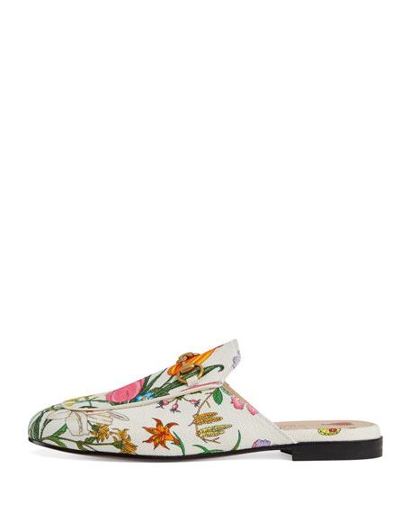 Princetown Floral Canvas Slipper Mules