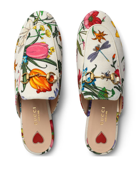39329fcc13710 Gucci Princetown Floral Canvas Slipper Mules