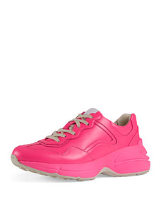 Fluorescent Leather Platform Sneakers by Gucci