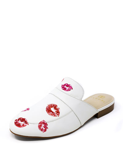 Hand-Painted Lips Flat Slide Mules