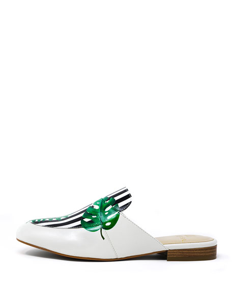 Hand-Painted Tropical Striped Flat Slide Mules