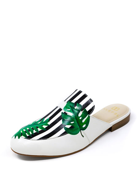 Alepel Hand-Painted Tropical Striped Flat Slide Mules