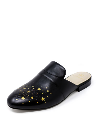 Star Flat Leather Slide Mules