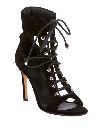 Jody Lace-Up Suede & Mesh Cutout Sandals