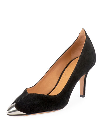 Pavis Suede Metal-Toe Pumps
