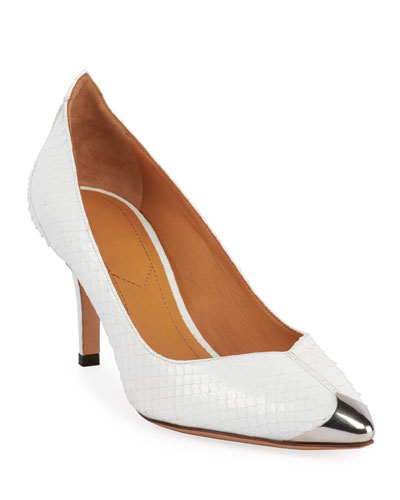 Pavis Snakeskin Metal-Toe Pumps, White