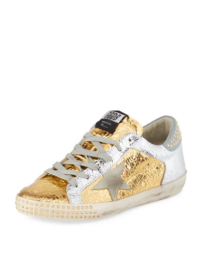 Superstar Studded Metallic Leather Low-Top Sneakers
