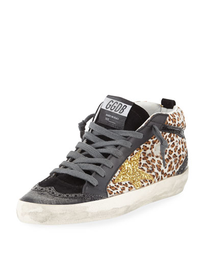 Leopard Mixed-Media Sneakers