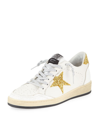Ball Star Glitter & Leather Sneakers with Shimmer Laces