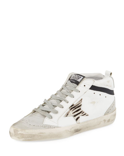 Mid Star Suede & Leather Sneakers with Zebra Patch