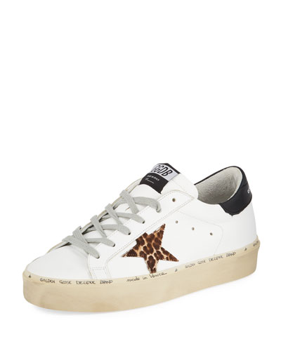Hi Star Leather Platform Sneakers with Leopard