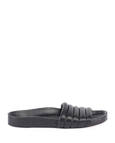 441e603dbe64 Isabel Marant Hellea Quilted Leather Pool Slide Sandals