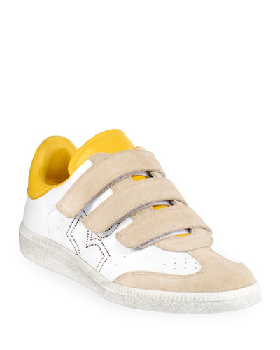 Beth Leather/Suede Grip-Strap Sneakers