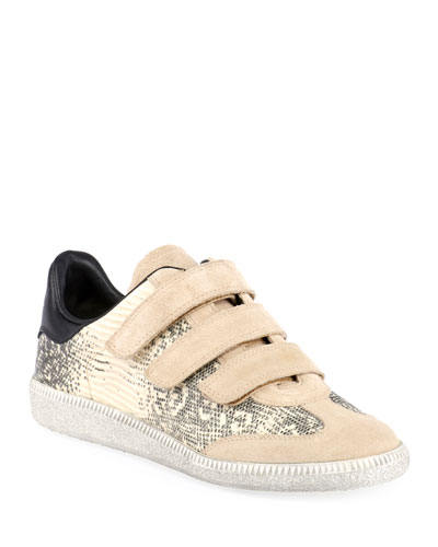 Beth Snake-Print Leather/Suede Grip-Strap Sneakers