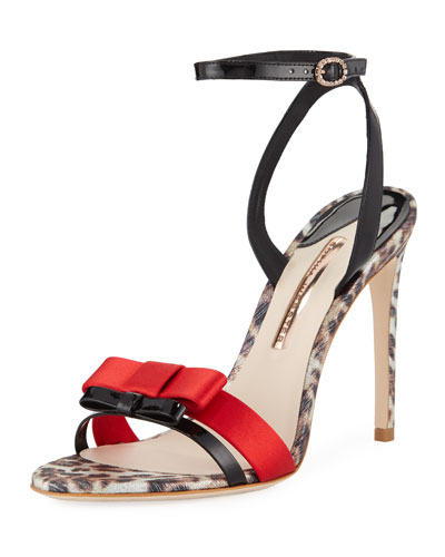 Andie Patent Double Bow Ankle-Strap Sandals