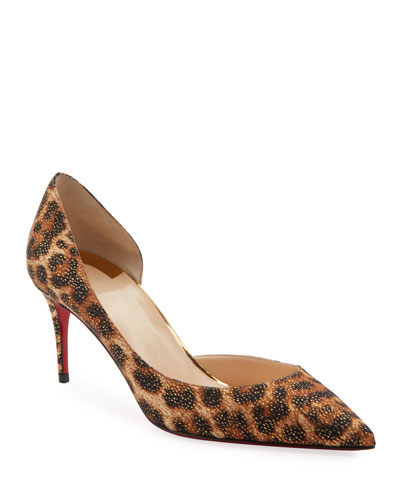 Iriza Leopard-Print Half d'Orsay Red Sole Pumps