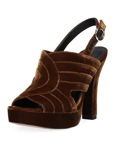 Tabby Layered Velvet Platform Slingback Sandals