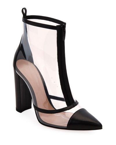 See-Through Leather and Plexi Booties