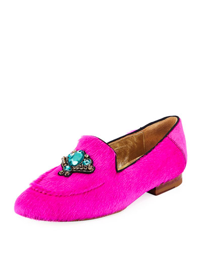 Milky Embellished Fur Loafers