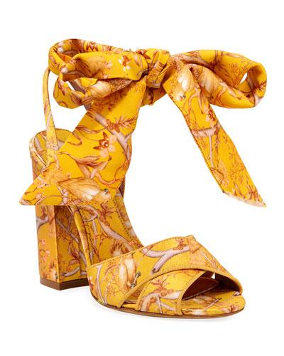 Connie Jacquard Ankle-Tie Sandals