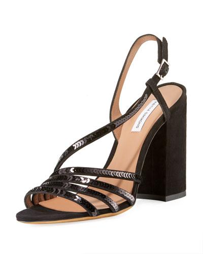 Viola Asymmetric Sequined Sandals