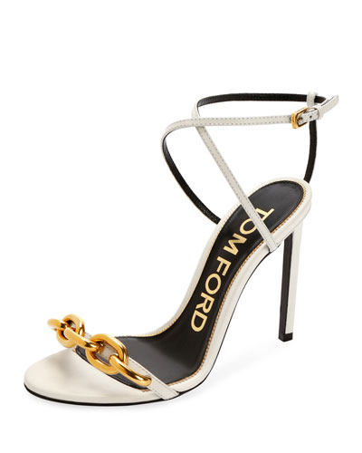 Leather Sandals with Chain Trim