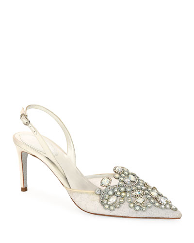 Venezia Embellished Lace Pumps, White