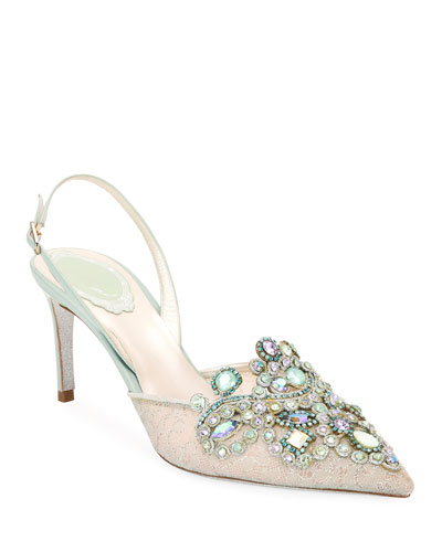 Venezia Embellished Lace Pumps, Light Green