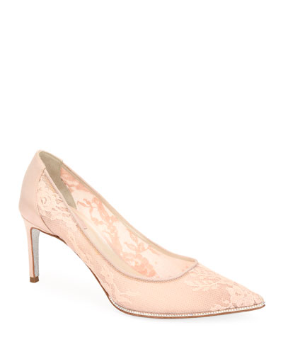 Grace Lace-Mesh Satin Pumps, Beige