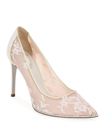 Grace Embellished Lace Satin Pumps, White