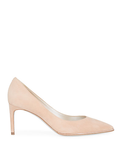 Grace Suede and Strass Pumps, Beige