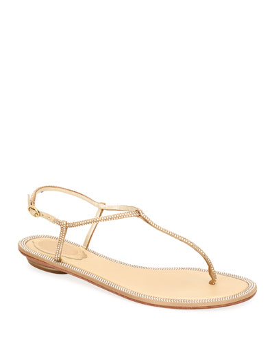 Diana Flat Thong Crystal Sandals