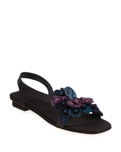 Zinnia Embroidered Flat Sandals, Black