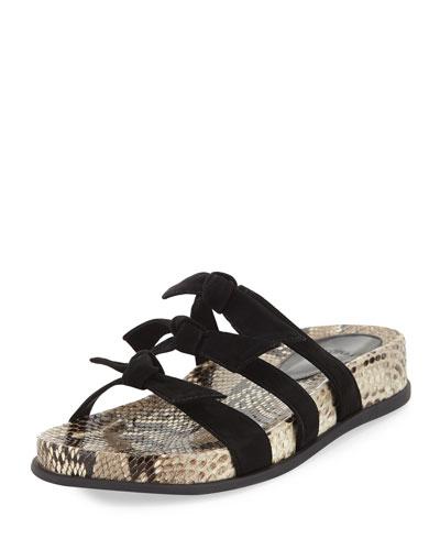 Lolita Python Suede-Knotted Pool Slide Sandals
