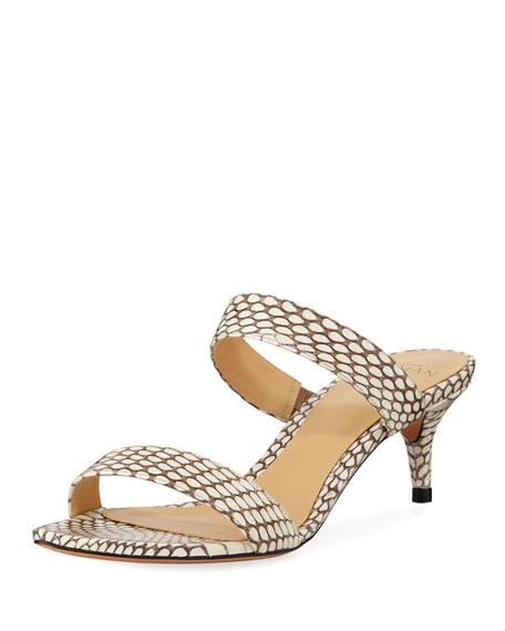b5f2d1cd1efd Alexandre Birman Leblon Snakeskin Kitten-Heel Sandals