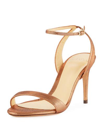 Satine Metallic High Ankle-Strap Sandals