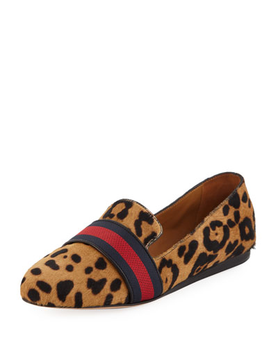 Griffin Flat Leoard-Print Fur Loafers
