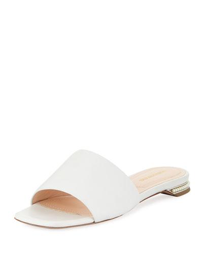 Casati Flat Pearly-Heel Slide Sandals
