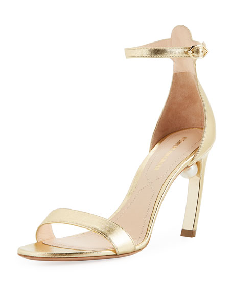 Mira Pearl Metallic Leather Ankle-Strap Sandals