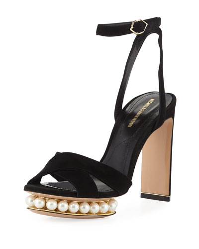 Casati Suede Pearly Platform Ankle-Strap Sandals