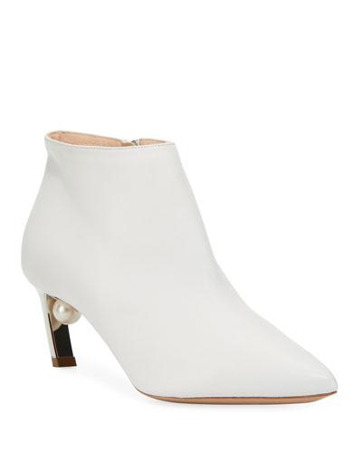 Mira Napa Leather Low-Heel Booties