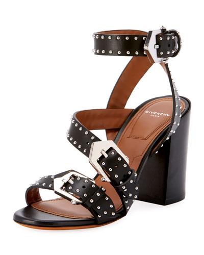 Studded Block-Heel Sandals