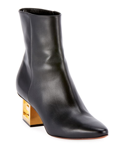 Leather Pointed Ankle Booties with Logo Golden Heel