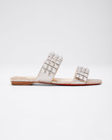 Myriadiam Flat Cork Red Sole Slide Sandals by Christian Louboutin